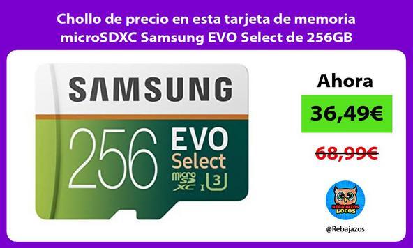 Chollo de precio en esta tarjeta de memoria microSDXC Samsung EVO Select de 256GB