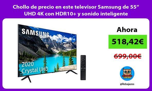"""Chollo de precio en este televisor Samsung de 55"""" UHD 4K con HDR10+ y sonido inteligente"""