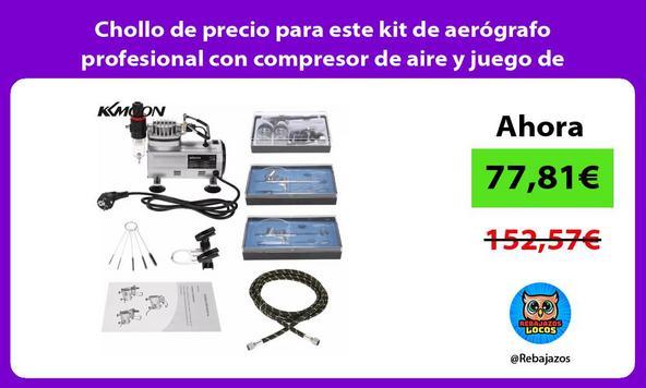 Chollo de precio para este kit de aerógrafo profesional con compresor de aire y juego de pinceles