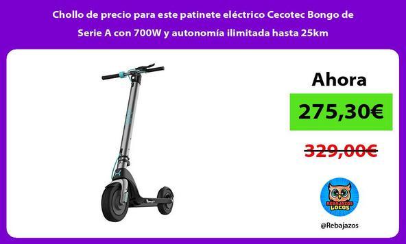 Chollo de precio para este patinete eléctrico Cecotec Bongo de Serie A con 700W y autonomía ilimitada hasta 25km