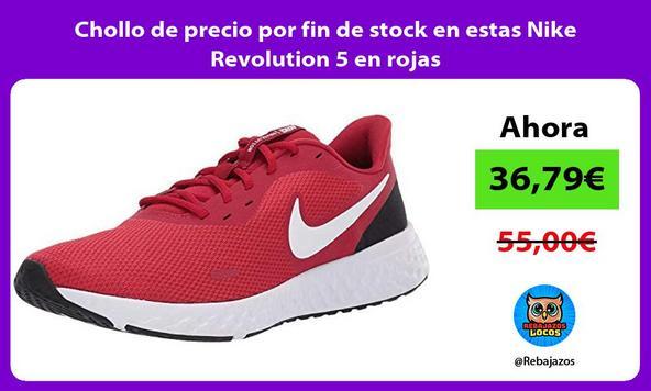 Chollo de precio por fin de stock en estas Nike Revolution 5 en rojas