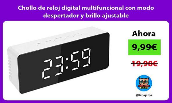 Chollo de reloj digital multifuncional con modo despertador y brillo ajustable