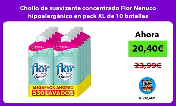 Chollo de suavizante concentrado Flor Nenuco hipoalergénico en pack XL de 10 botellas