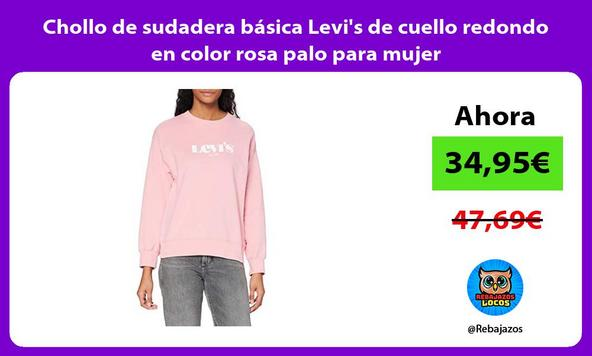 Chollo de sudadera básica Levi's de cuello redondo en color rosa palo para mujer