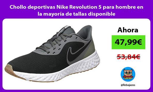Chollo deportivas Nike Revolution 5 para hombre en la mayoría de tallas disponible