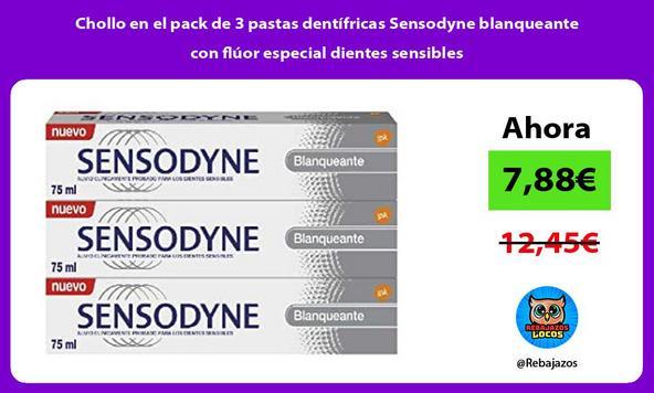 Chollo en el pack de 3 pastas dentífricas Sensodyne blanqueante con flúor especial dientes sensibles