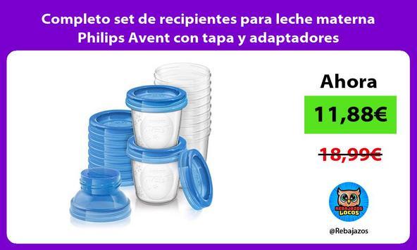 Completo set de recipientes para leche materna Philips Avent con tapa y adaptadores