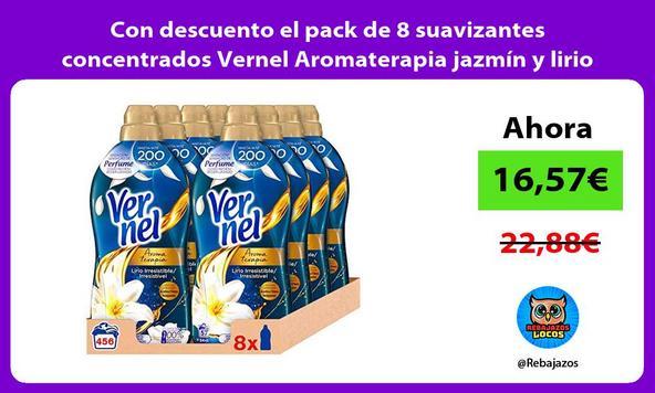 Con descuento el pack de 8 suavizantes concentrados Vernel Aromaterapia jazmín y lirio