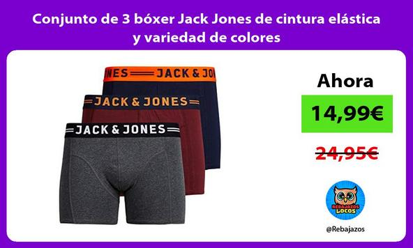 Conjunto de 3 bóxer Jack Jones de cintura elástica y variedad de colores