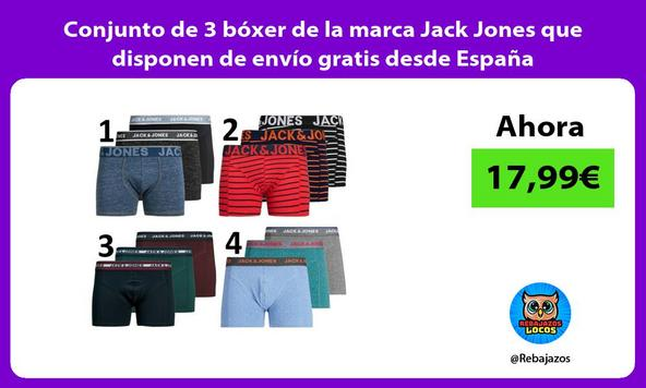 Conjunto de 3 bóxer de la marca Jack Jones que disponen de envío gratis desde España