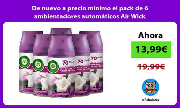 De nuevo a precio mínimo el pack de 6 ambientadores automáticos Air Wick