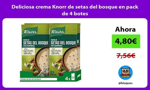 Deliciosa crema Knorr de setas del bosque en pack de 4 botes