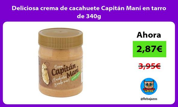 Deliciosa crema de cacahuete Capitán Maní en tarro de 340g