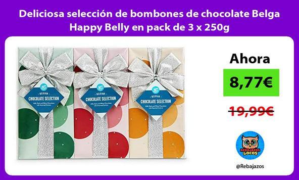 Deliciosa selección de bombones de chocolate Belga Happy Belly en pack de 3 x 250g
