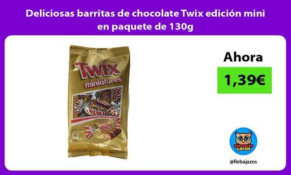 Deliciosas barritas de chocolate Twix edición mini en paquete de 130g