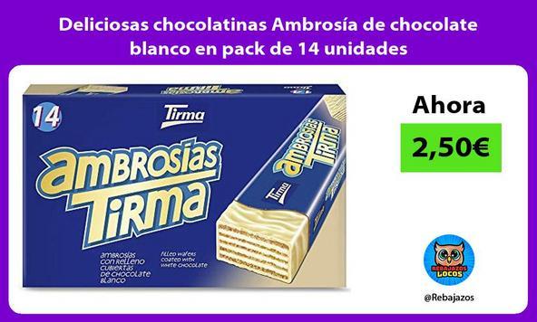 Deliciosas chocolatinas Ambrosía de chocolate blanco en pack de 14 unidades