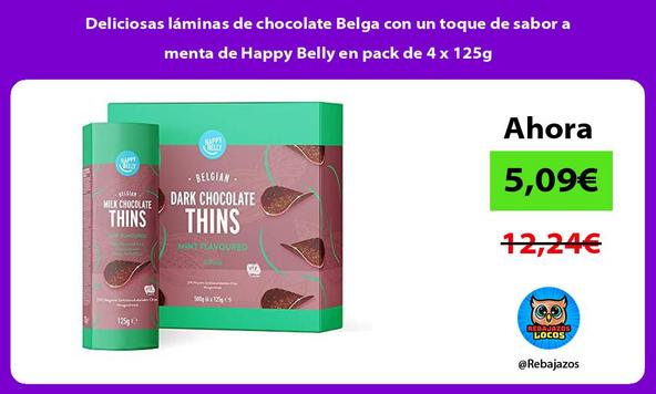 Deliciosas láminas de chocolate Belga con un toque de sabor a menta de Happy Belly en pack de 4 x 125g