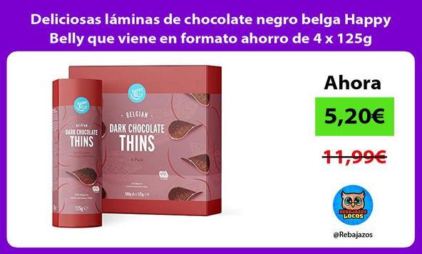 Deliciosas láminas de chocolate negro belga Happy Belly que viene en formato ahorro de 4 x 125g