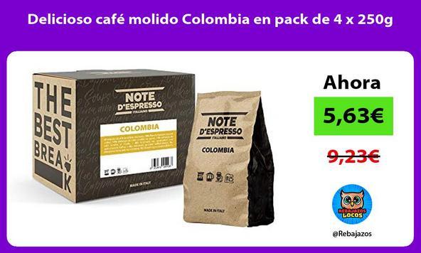 Delicioso café molido Colombia en pack de 4 x 250g