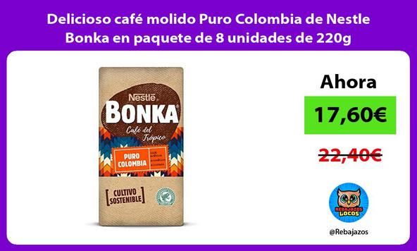 Delicioso café molido Puro Colombia de Nestle Bonka en paquete de 8 unidades de 220g