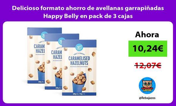 Delicioso formato ahorro de avellanas garrapiñadas Happy Belly en pack de 3 cajas
