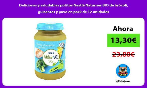 Deliciosos y saludables potitos Nestlé Naturnes BIO de brócoli, guisantes y pavo en pack de 12 unidades