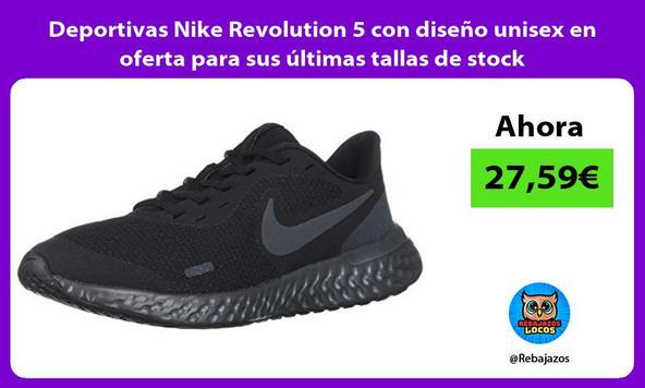 Deportivas Nike Revolution 5 con diseño unisex en oferta para sus últimas tallas de stock