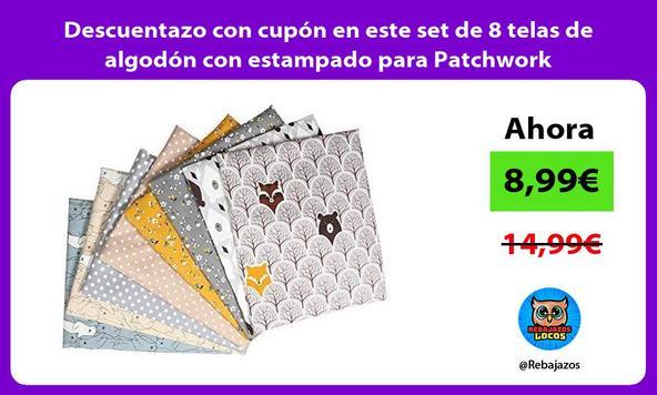 Descuentazo con cupón en este set de 8 telas de algodón con estampado para Patchwork