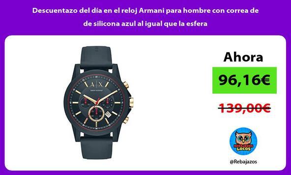 Descuentazo del día en el reloj Armani para hombre con correa de de silicona azul al igual que la esfera