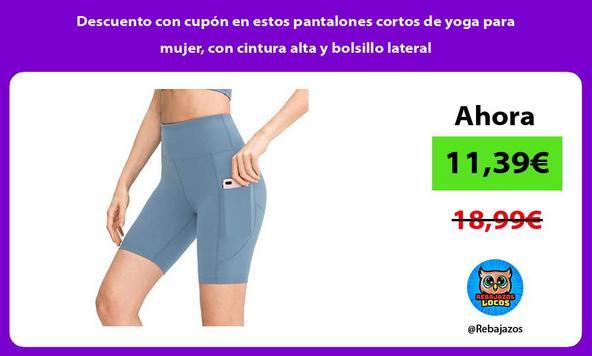 Descuento con cupón en estos pantalones cortos de yoga para mujer, con cintura alta y bolsillo lateral