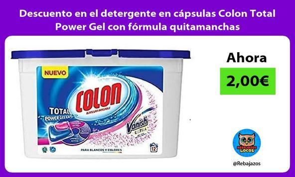 Descuento en el detergente en cápsulas Colon Total Power Gel con fórmula quitamanchas