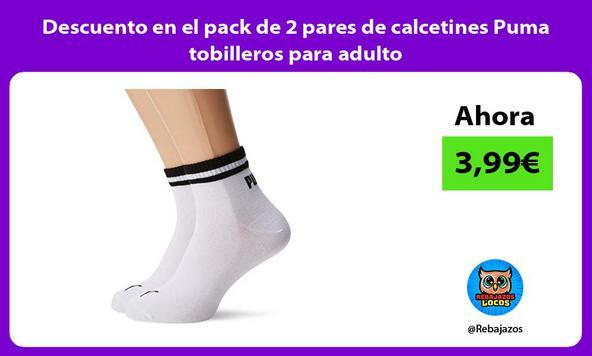 Descuento en el pack de 2 pares de calcetines Puma tobilleros para adulto