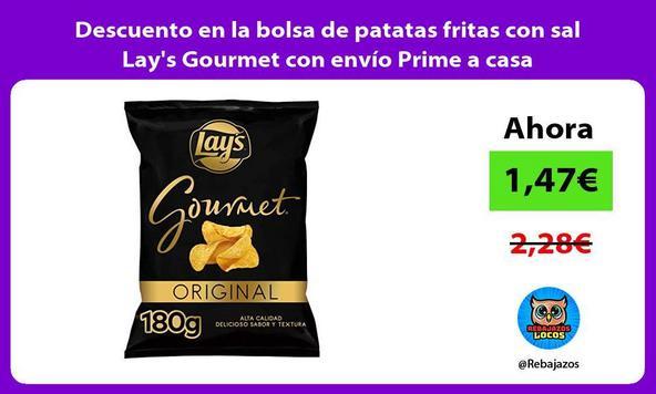 Descuento en la bolsa de patatas fritas con sal Lay's Gourmet con envío Prime a casa