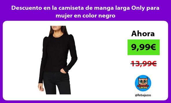 Descuento en la camiseta de manga larga Only para mujer en color negro
