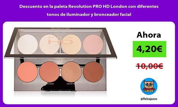 Descuento en la paleta Revolution PRO HD London con diferentes tonos de iluminador y bronceador facial