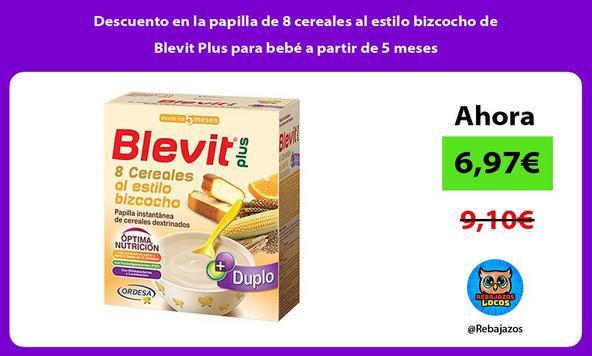 Descuento en la papilla de 8 cereales al estilo bizcocho de Blevit Plus para bebé a partir de 5 meses