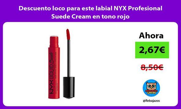 Descuento loco para este labial NYX Profesional Suede Cream en tono rojo