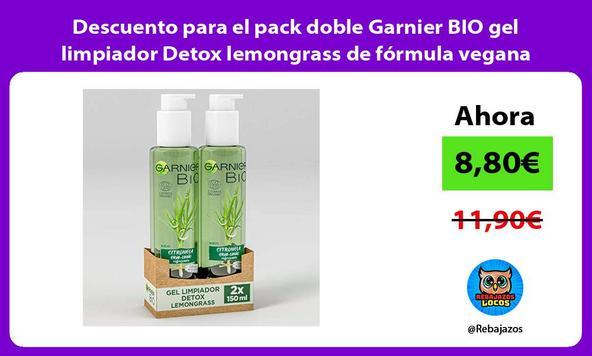 Descuento para el pack doble Garnier BIO gel limpiador Detox lemongrass de fórmula vegana