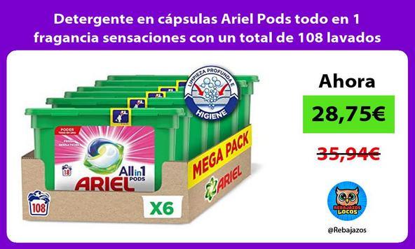 Detergente en cápsulas Ariel Pods todo en 1 fragancia sensaciones con un total de 108 lavados