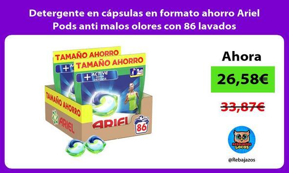 Detergente en cápsulas en formato ahorro Ariel Pods anti malos olores con 86 lavados