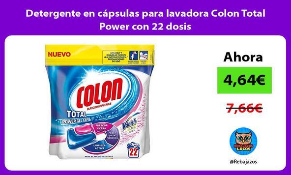 Detergente en cápsulas para lavadora Colon Total Power con 22 dosis