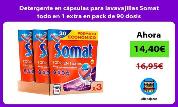 Detergente en cápsulas para lavavajillas Somat todo en 1 extra en pack de 90 dosis