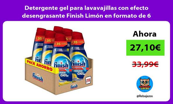 Detergente gel para lavavajillas con efecto desengrasante Finish Limón en formato de 6 botellas