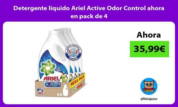 Detergente líquido Ariel Active Odor Control ahora en pack de 4