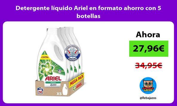 Detergente líquido Ariel en formato ahorro con 5 botellas