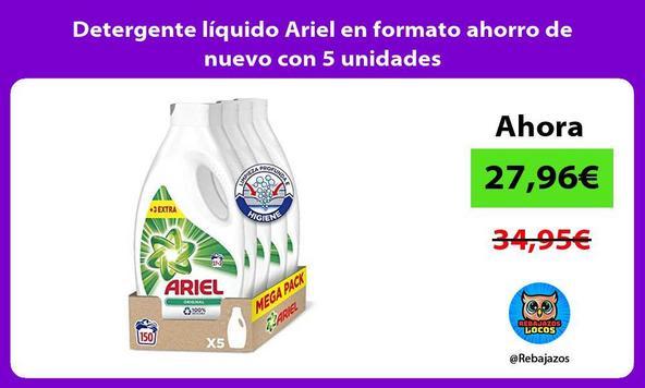Detergente líquido Ariel en formato ahorro de nuevo con 5 unidades