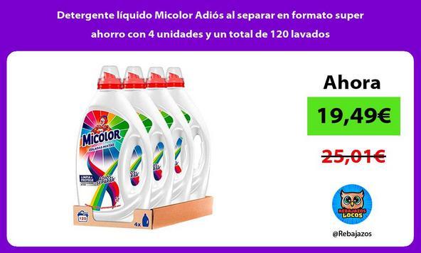 Detergente líquido Micolor Adiós al separar en formato super ahorro con 4 unidades y un total de 120 lavados