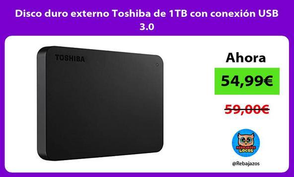 Disco duro externo Toshiba de 1TB con conexión USB 3.0