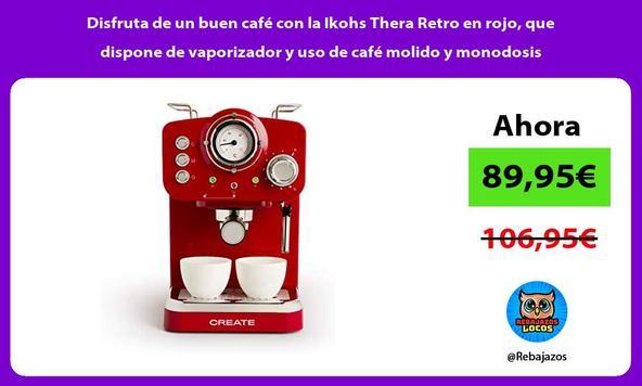 Disfruta de un buen café con la Ikohs Thera Retro en rojo, que dispone de vaporizador y uso de café molido y monodosis