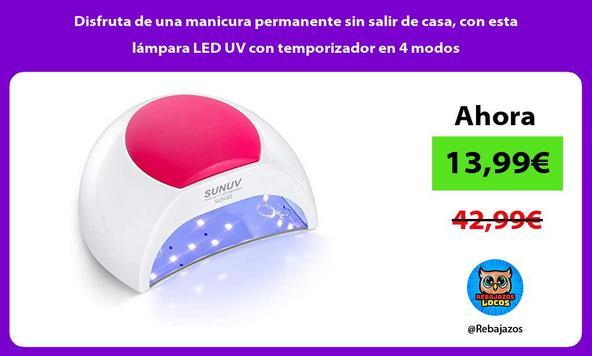 Disfruta de una manicura permanente sin salir de casa, con esta lámpara LED UV con temporizador en 4 modos
